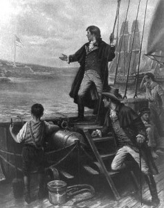 Rendering of Francis Scott Key writing Star Spangled Banner at the defense of Baltimore during War of 1812.